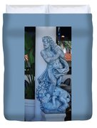 Greek Dude And Lion In Blue Duvet Cover