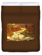 Greek Fishing Town Duvet Cover