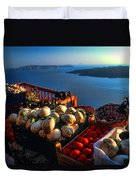 Greek Food At Santorini Duvet Cover