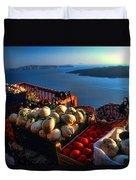 Greek Food At Santorini Duvet Cover