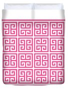 Greek Key With Border In French Pink Duvet Cover
