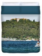 Greek Orthodox School And The Sea Of Marmara Duvet Cover