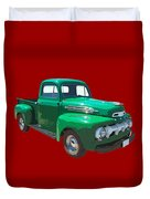 Green 1951 Ford F-1 Pick Up Truck Illustration  Duvet Cover