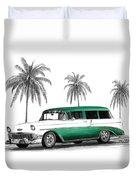 Green 56 Chevy Wagon Duvet Cover