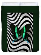Green And Black Butterfly On Wavey Lines Duvet Cover