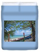 Green And Blue Boat Duvet Cover