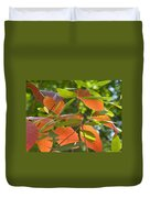 Green And Orange Leaves Duvet Cover