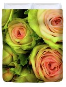 Green And Pink Rose Bouquet Duvet Cover