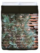 Green And Red - Cypress Branches Over Antique Roman Brick Wall Duvet Cover