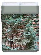 Green And Red - Slender Cypress Branches Over Rough Roman Brick Wall Duvet Cover