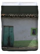 Green And White House Duvet Cover
