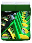 Green And Yellow Bicycles Duvet Cover