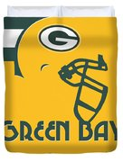 Green Bay Packers Team Vintage Art Duvet Cover