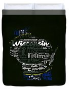 Green Bay Packers Typographic Word Art Duvet Cover
