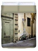 Green Bike And Door Duvet Cover