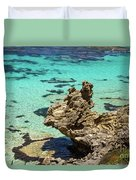 Green Blue Ocean Water And Rocks Duvet Cover