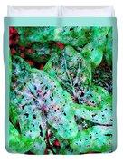 Green Caladium Duvet Cover