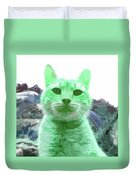 Green Cat Duvet Cover