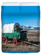 Green Covered Wagon Duvet Cover