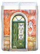Green Door In Venice Italy Duvet Cover