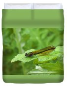 Green Dragonfly On Leaf Duvet Cover