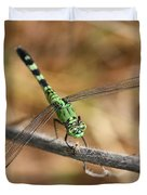 Green Dragonfly On Twig Duvet Cover