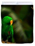 Green Eclectus Parrot Male Duvet Cover