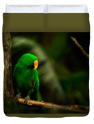 Green Eclectus Parrot Male Duvet Cover