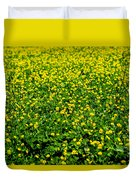 Green Field Of Yellow Flowers Duvet Cover