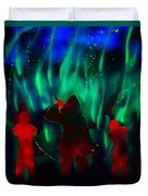 Green Flames In The Night Duvet Cover
