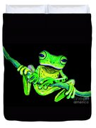 Green Frog On A Vine Duvet Cover