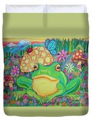 Green Frog With Flowers And Mushrooms Duvet Cover