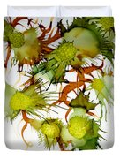 Green Fruit And Butterfly Duvet Cover