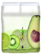 Green Fruits Watercolor Duvet Cover