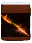 Green Glass Bottle And Campfire Duvet Cover