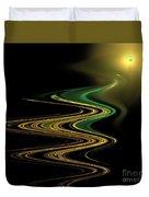 Green Gold Waves Duvet Cover