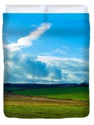 Green Grass And Blue Sky With White Clouds Duvet Cover