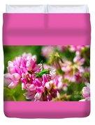 Green Grasshopper On Pink Flowers Duvet Cover