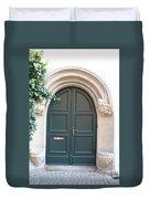 Green Guarded Door Duvet Cover