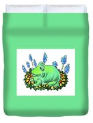 Green Happy Frog Duvet Cover