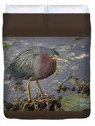 Green Heron 52 Duvet Cover