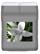 Green Highlighted Lily Duvet Cover