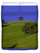 Green Hill With Poppies Duvet Cover
