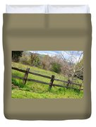 Green Hills And Rustic Fence Duvet Cover