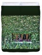 Green Ivy Window  Duvet Cover