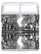 Green Lake Bathhouse Black And White Reflection Duvet Cover