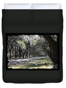 Green Lane With Live Oaks - Black Framing Duvet Cover