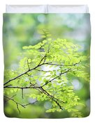 Green Leaves In The Forest Duvet Cover