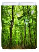 Green Light Harmony - Walking Through The Summer Forest Duvet Cover
