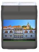 Green Ljubljanica Riverfront In Ljubljana Duvet Cover